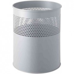 HELIT Corbeille à papier, percée de trous, 15 litres, gris