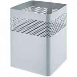 HELIT Corbeille à papier Carrée Acier perforations déco 15 Litres H32 x24x24 cm Gris