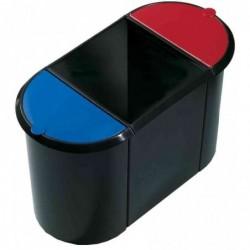 HELIT corbeille à papier Trio-System, ovale, en PE, noir