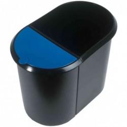 HELIT corbeille à papier Duo System, ovale, PE, noir/bleu