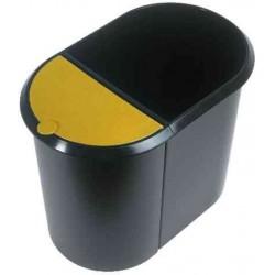 HELIT Corbeille à papier Duo-System, oval, PE, argent/noir,