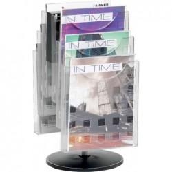 HELIT Présentoir Porte revue de table en kit de 6 Pivotant pour A4 Transparent