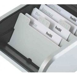 HELIT Intercalaire A8 pour boîte de cartes de visite 8 divisions Gris
