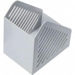 HELIT Porte-revue Design grille format A4 polystyrène Dos 75 mm Gris