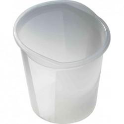 HELIT Corbeille à papier Economy Transparente 13 litres Diam 28 cm H 30 cm Blanc