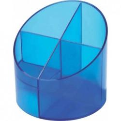 HELIT Multipot à crayon Economy 4 compartiments D 110 mm H 105 mm Transparent Bleu
