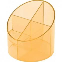 HELIT Multipot à crayon Economy 4 compartiments D 110 mm H 105 mm Transparent Orange
