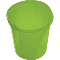 HELIT Corbeille à papier Economy Transparente 13 litres Diam 28 cm H 30 cm Vert