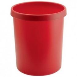 HELIT Corbeille à papier en plastique, rond, 45 litres, Rouge