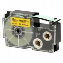 CASIO Ruban adhésif XR-12YW1 pour étiqueteuse Noir sur jaune 12 mm