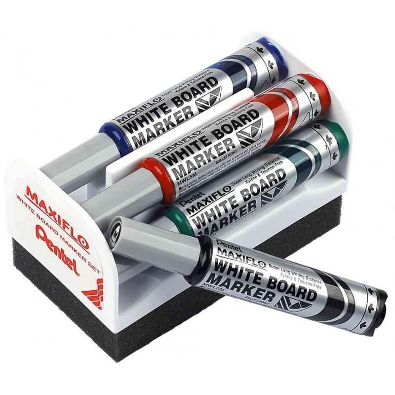 PENTEL Set Brosse magnétique + 4 marqueurs pour tableau blanc MAXIFLO MWL5S