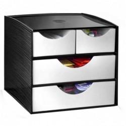 CEP Module de classement 2 petits tiroirs et 2 grands 18,6x18,5x17,5 cm Noir / Gris
