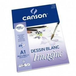 CANSON Bloc de 25 Feuilles à dessin Imagine format A1 200 g Blanc