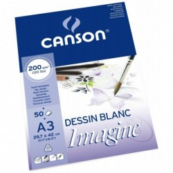 CANSON Bloc 50 feuilles à dessin Imagine A3 220 g Blanc naturel