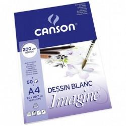 CANSON Bloc Dessin Imagine 50 Feuilles A4 200 g Blanc Naturel