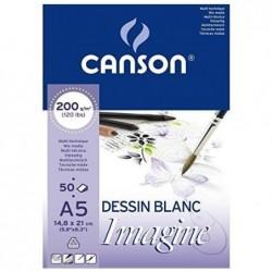 CANSON Bloc à dessin Imagine format A5 200 g Blanc