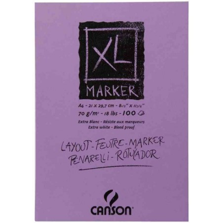 """CANSON Bloc pour croquis """"XL MARKER"""" 70g A4 100 Feuilles"""