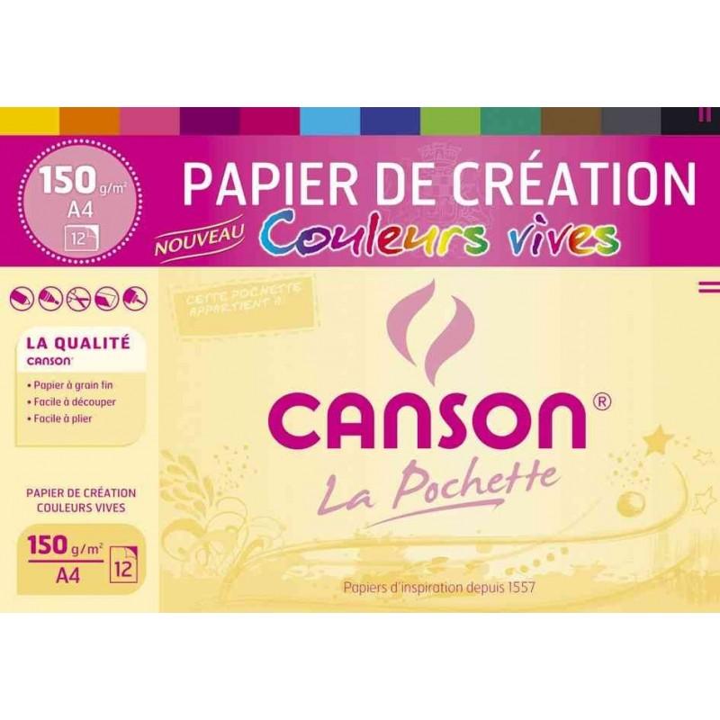 CANSON Pochette 12 feuilles de papier de création A4 150 g Coloris Vifs