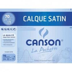 CANSON pochette de 12 feuilles Calque satin , 240 x 320 mm, 70 g/m2