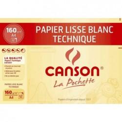 CANSON Pochette 12 Feuilles DESSIN TECHNIQUE A4 160G BLANC