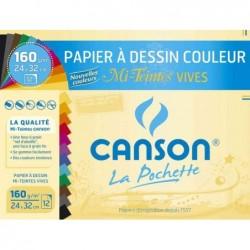CANSON Pochette 12 Feuilles Papier dessin Mi-Teintes 320 x 240 mm 160g couleurs vives