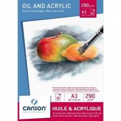 CANSON bloc 10 feuilles huile et acrylique, A3, 290 g/m2, blanc