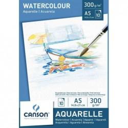 CANSON Bloc de 10 feuilles de papier dessin Aquarelle A5, 300 g/m2, Blanc
