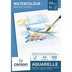 CANSON Bloc 10 feuilles Papier aquarelle 300g 21 x 29,7 cm A4 Blanc