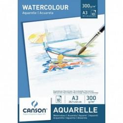 CANSON Bloc 10 feuilles Papier Aquarelle 300g A3 Blanc- 10 feuilles