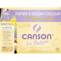 CANSON Pochette de 12 Feuilles Papier dessin Mi-teintes 240 x 320 mm 160g Assorti Clair