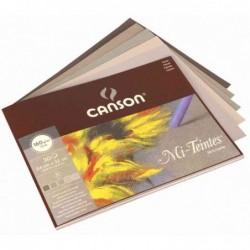 CANSON Bloc 30 Feuilles Papier beaux-arts Mi-Teintes 240 x 320 mm 160g 5 Teintes