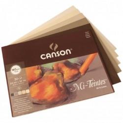 CANSON Bloc 30 Mi -Teintes Papier à Dessin 160 g Nid d'Abeille 24 x 32 cm 5 Nuances Terre