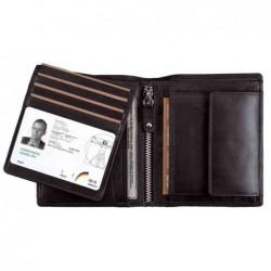"ALASSIO porte-monnaie ""RFID Document Safe"", cuir nappa, noir"