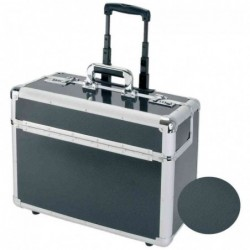 """ALUMAXX Pilot-case """" CARBON"""" avec système trolley aluminium Argent/carbone"""
