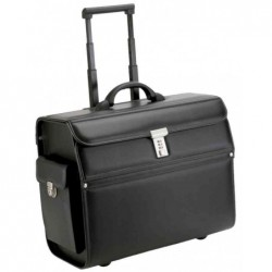 ALASSIO Valise Trolley Pilot-case MONDO Simili cuir L45 x P22,5 x H36,5 cm Noir