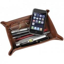 ALASSIO Vide-poches en Cuir Véritable 16 x 10 cm Cognac