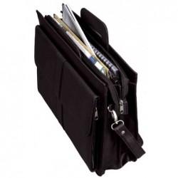"""ALASSIO Serviette """"AVERSA"""" simili cuir 3 compartiments + bandoulière Noir 43x12x32 cm"""