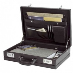 "ALASSIO Attaché case en PVC ""PONTE"" 445x105x320 mm Simili Cuir noir"