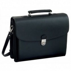 "ALASSIO Attaché case ""FORTE"" avec 5 compartiments simili cuir noir"