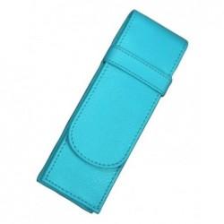 ALASSIO Etui pour 2 stylos en cuir véritable Turquoise