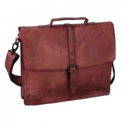PRIDE&SOUL serviette Jayden 2 compartiments + 2 poches rouge en cuir - Dim. L36,5 x H30 x P7,5 cm