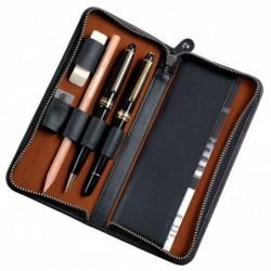 ALASSIO Etui pour 3 instruments d'écriture, noir, en cuir