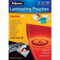 FELLOWES Pqt de 100 pochettes à plastifier Adhésives A3 250 microns (2x125) Brillant