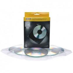 FELLOWES Bte de 100 pochettes plastiques pour CD / DVD transparent