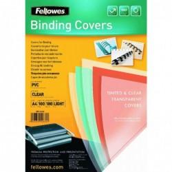 FELLOWES Pack de 100 couverture reliure PVC 18/100 eme A4 Transparent