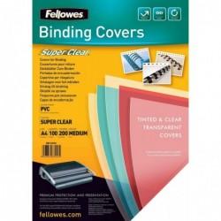 FELLOWES Pqt de 100 Couvertures Reliure SUPER CLEAR A4 PVC 0,20 mm Transparent