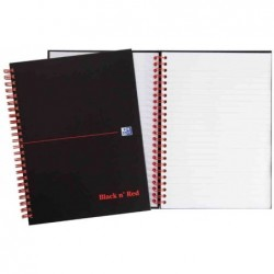 OXFORD Cahier Black n'Red Spiralé 140 pages ligné 7mm + marge format 14,8x21 cm
