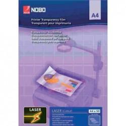NOBO Lot de 50 film transparent de rétropojection pour imprimante laser A4