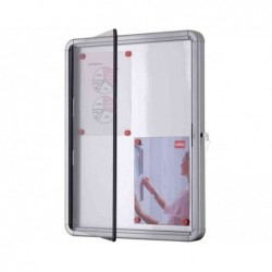 NOBO vitrine d'extérieur fond magnétique 6xA4 porte battante blanc