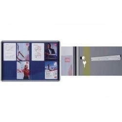 NOBO Vitrine d'intérieur fond en tissu portes coulissantes 8xA4 bleu